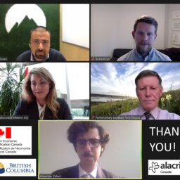 Five video conferencing windows with officials from federal and provincial government representatives and Alacrity Canada Cleantech members.