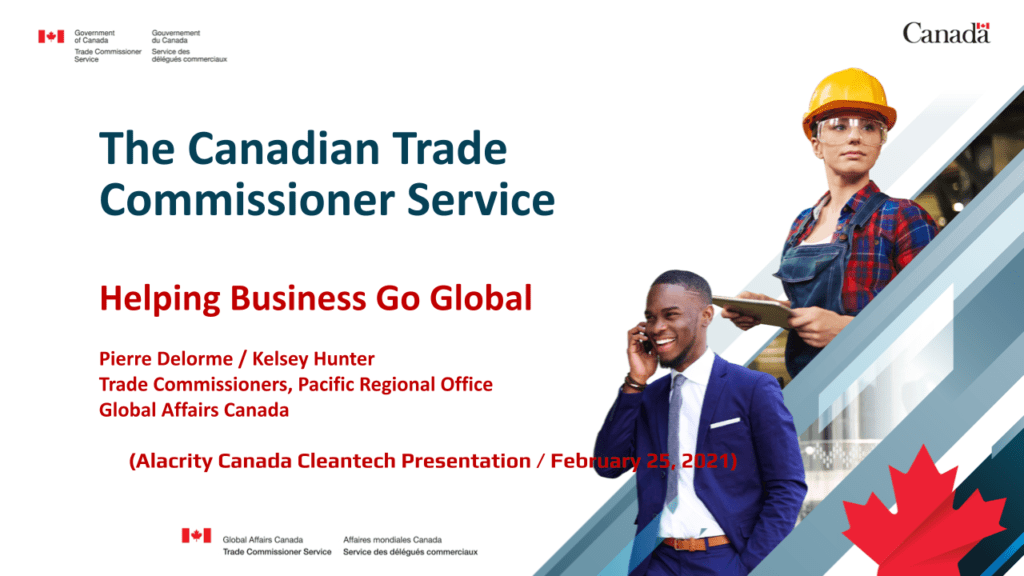 """Image that reads """"The Canadian Trade Commissioner Service: Helping Business Go Global"""" and shows a man in a suit talking on his phone and a woman in a hardhat and safety glasses holding a clipboard."""