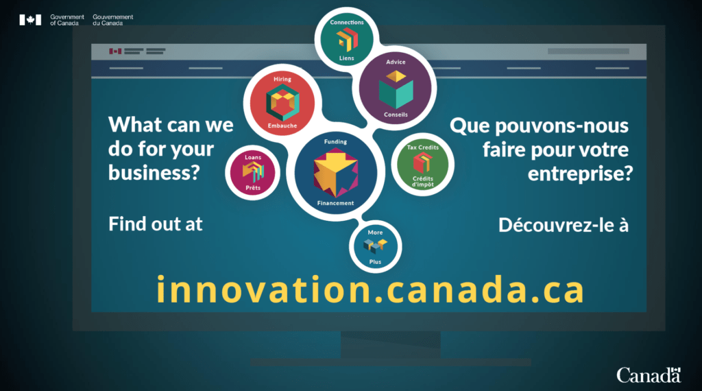 An image showing the innovation.canada.ca website and the various services that Innovation Canada provides to Canadian businesses.