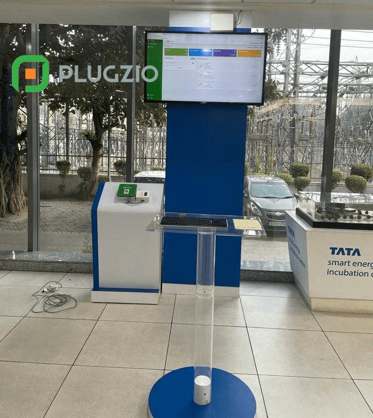 Photo of the testing setup with Plugzio and Tata Group in India showing the Plugzio dashboard and the results of the company's first installation in the market.