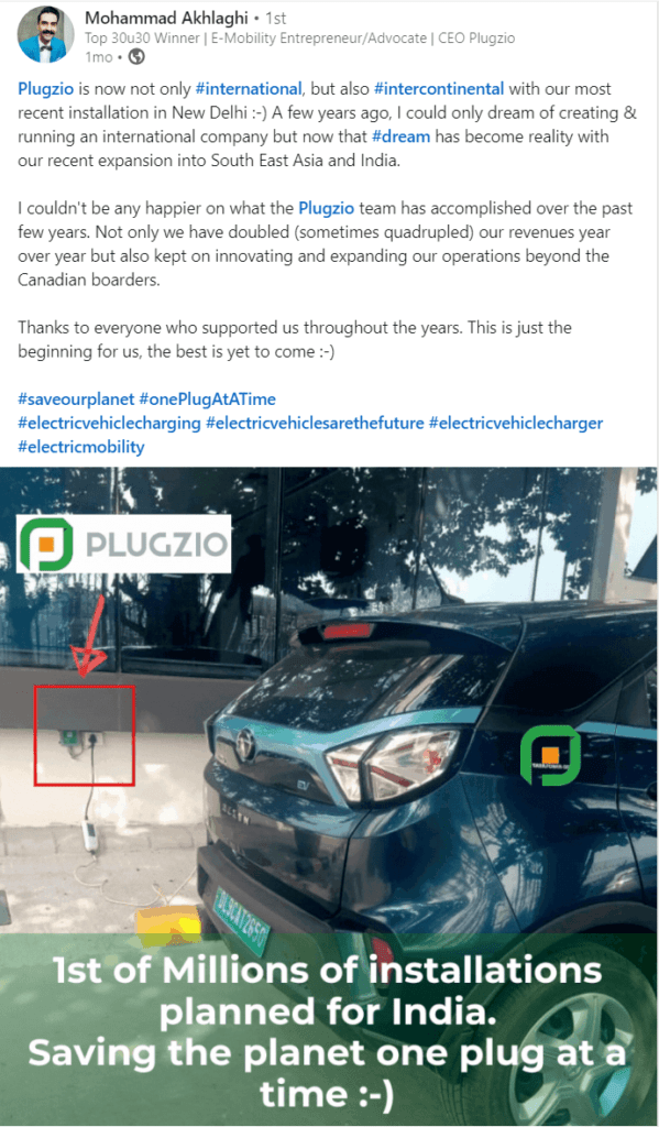 Image of a LinkedIn post from Plugzio CEO, Mohammad Akhlaghi, illustrating the company's entrance into the Indian market, with a photo showing the first plug installation.