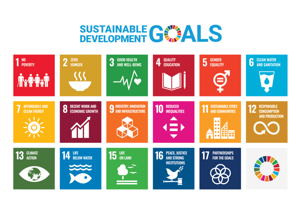 An image outlining the 17 sustainable development goals identified by the United Nations.