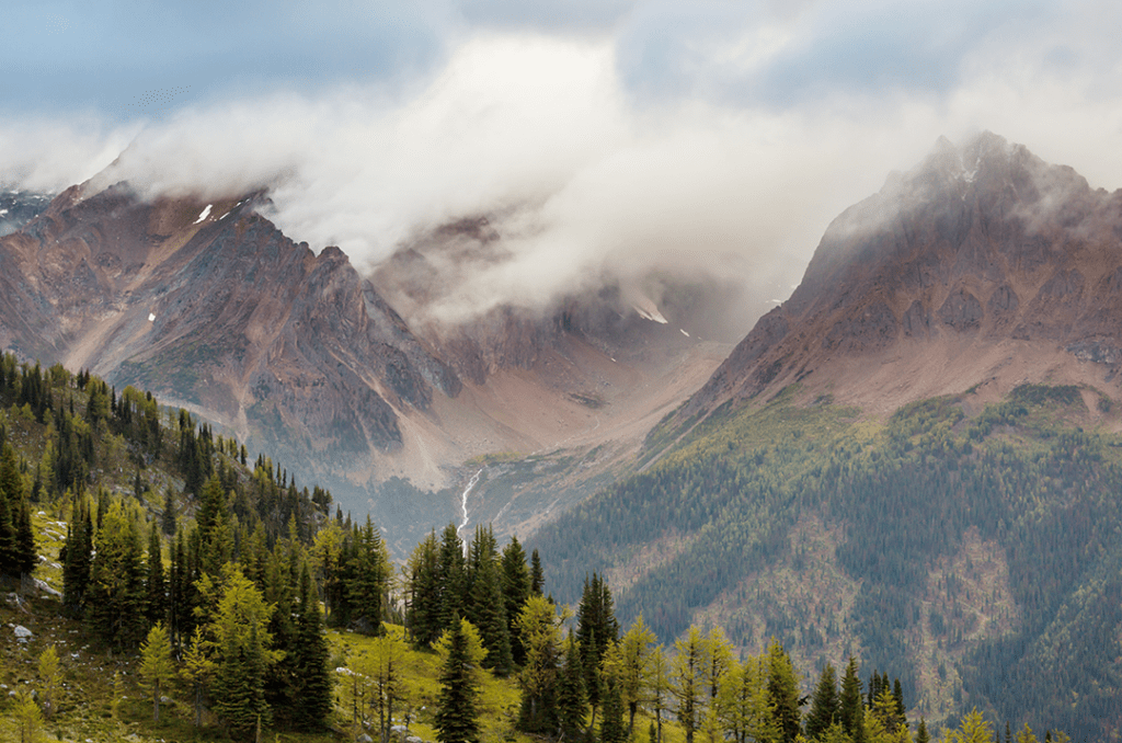 Photo of Canadian mountains. The country is home to 20% of the world's remaining wilderness.