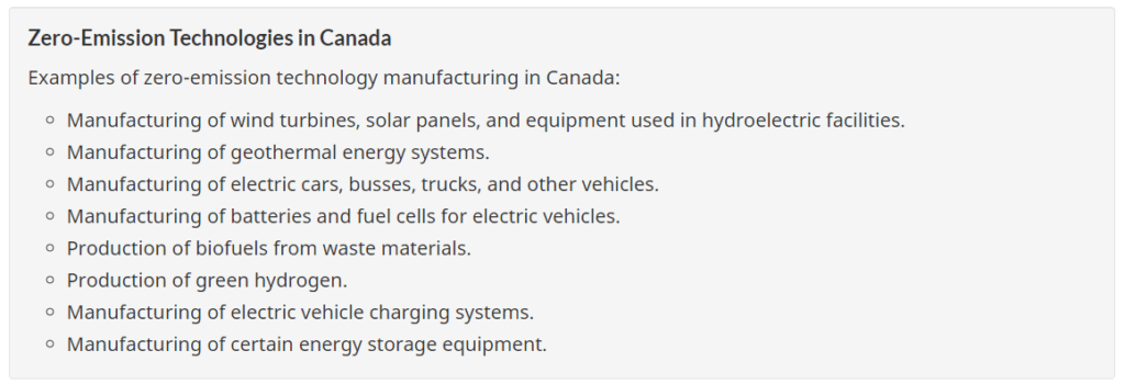 A list of zero-emission technologies in Canada that qualify for tax breaks announced in the 2021 federal government's budget.